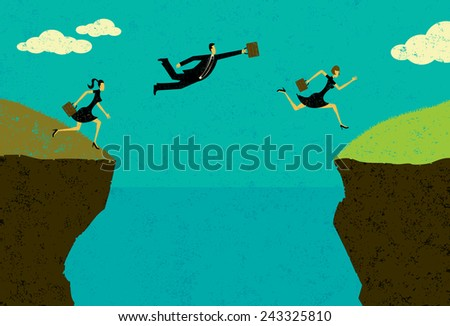 Grass is greener on the other side Business people taking a risk and jumping to where the grass is greener. The people and background are on separately labeled layers. - stock vector
