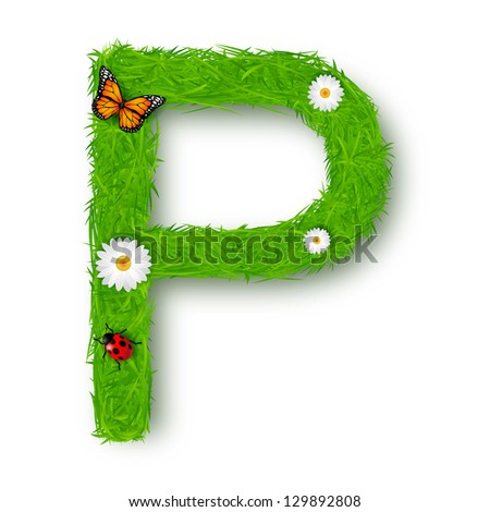 Grass Letter P on white background - stock vector