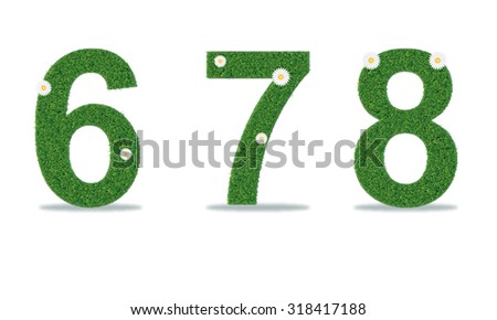 Grass numbers 6-8. Vector illustration - stock vector