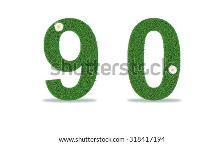Grass numbers 9-0. Vector illustration - stock vector