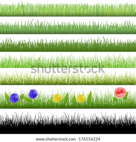 Grass patterns (vector version; available as raster too) - stock vector