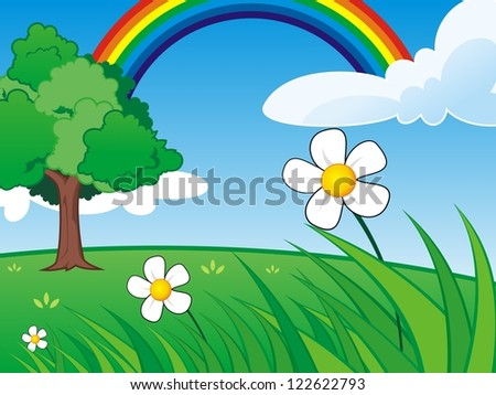 Grass Scene with Clear Sky and Rainbow