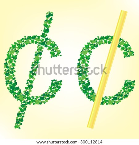 Grass Sign Collection - Cent. Vector - stock vector
