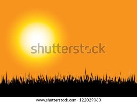 grass silhouette on orange sunset background - stock vector