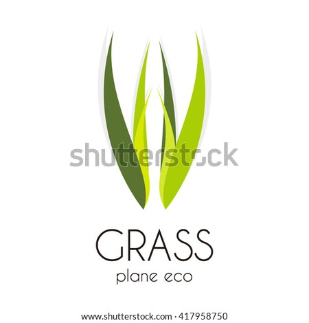 grass treatment of natural curve abstract vector and logo design or template leaf group business icon