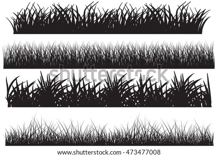 Grass vector black set