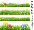 Grass with eggs - vector set - stock photo