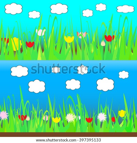 Grass with flowers and clouds. Seamless.