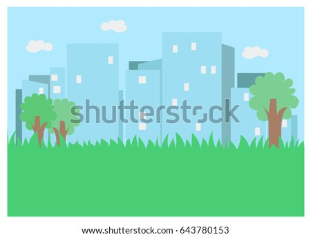 Grass with trees and a city background with blue sky and clouds