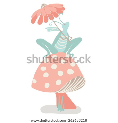 Grasshopper on a Mushroom Sweet grasshopper holding a flower umbrella and sitting on a mushroom.  Right at home in a fantasy garden. Easy to edit vector illustration in pastel teals and oranges.  - stock vector