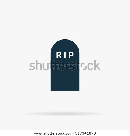 Grave. Flat vector web icon or sign on grey background with shadow. Collection modern trend concept design style illustration symbol - stock vector