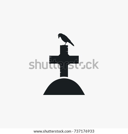 Grave icon halloween simple cross vector illustration sign