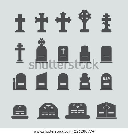 Grave icons set - stock vector