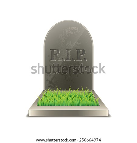 Grave isolated on white photo-realistic vector illustration - stock vector