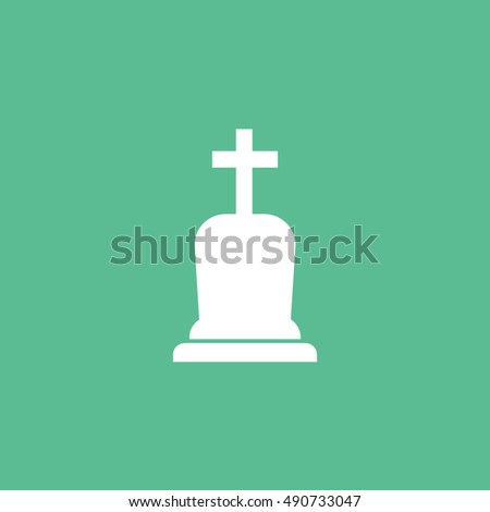 Grave RIP Halloween Concept  Flat Icon On Green Background