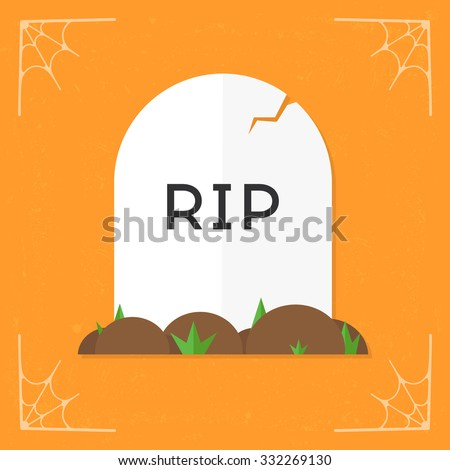 Grave / RIP icon. Vector Halloween flat illustration isolated on orange stylized background - stock vector
