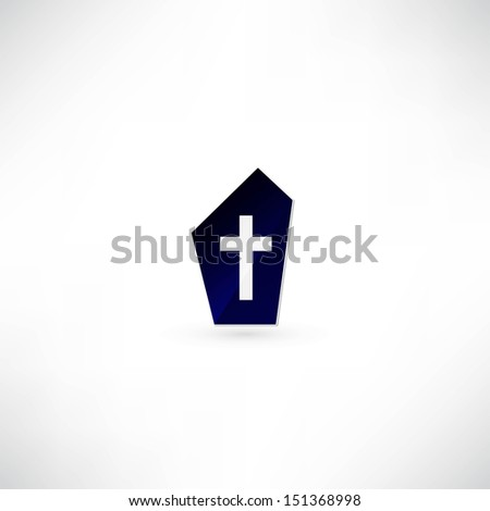 Grave with tombstone cross - stock vector