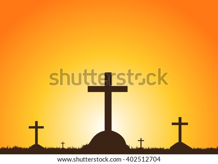 Graves in the Sunset - stock vector
