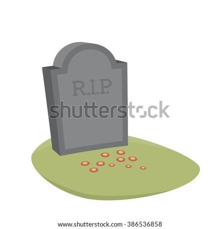 gravestone cartoon vector isolated - stock vector