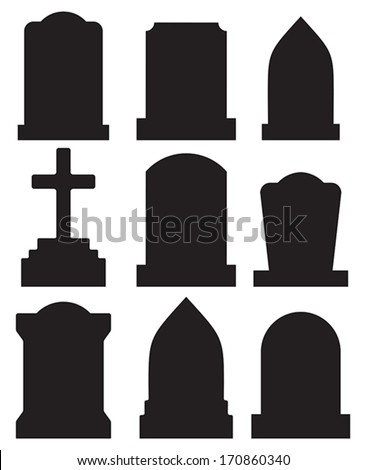 gravestone set - stock vector