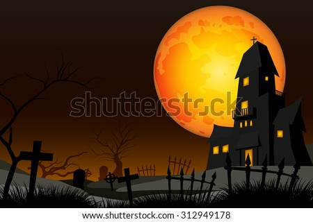 graveyard and fullmoon vector - stock vector