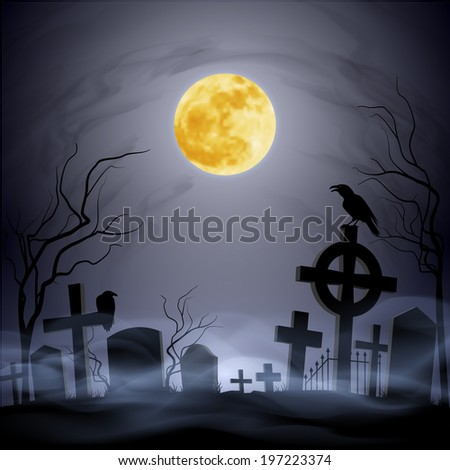 Graveyard at the night. Yellow moon. Headstone. Fog.