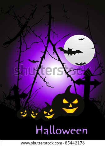 graveyard background with collection of scary pumpkins - stock vector