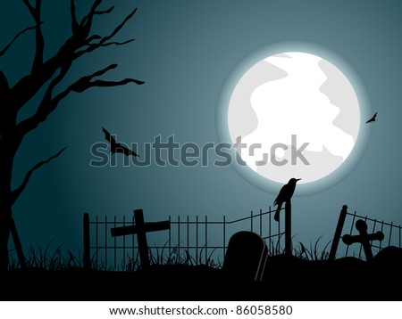 graveyard background with dry tree, crow sitting on fence and bat flying around moon