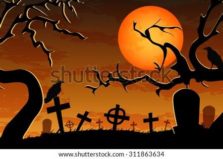 graveyard vector - stock vector