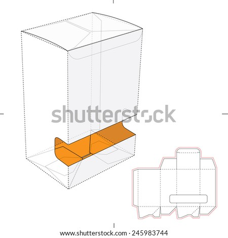 Gravity-Fed Dispenser Box with Die Cut Template - stock vector