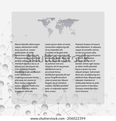 Gray Abstract background of molecule structure, template with world map icon  vector illustration - stock vector