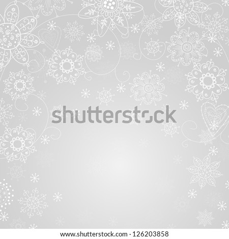 gray abstract background with snowflake and freezing - stock vector