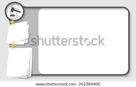 Gray abstract frame for your text with law symbol and papers for remark - stock vector