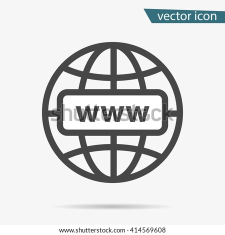 Gray address http icon isolated. Modern simple flat globe sign. Business internet concept. Trendy social vector network www symbol for web site design, SEO, or button to mobile app. Logo illustration  - stock vector