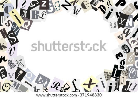 Gray alphabet symbols mix frame newspaper style. Vector illustration - stock vector