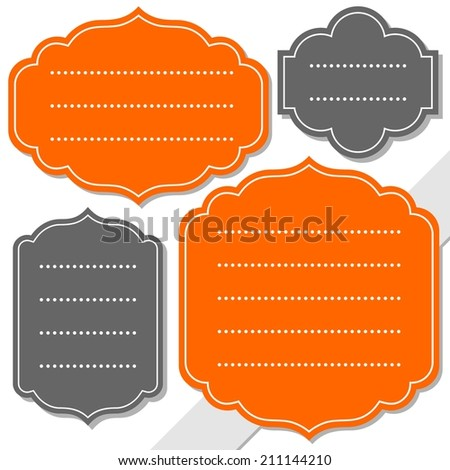 gray and orange retro shaped blank frame isolated on white background holiday sticker set - stock vector