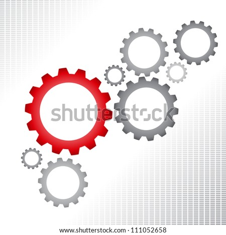 Gray and red gears on white background