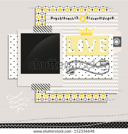 Gray and Yellow Design Elements: Scrap template with blank space for your photos or text - stock vector