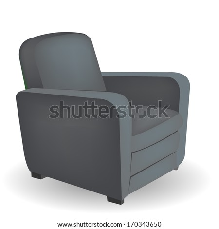 Gray armchair with shadow - stock vector