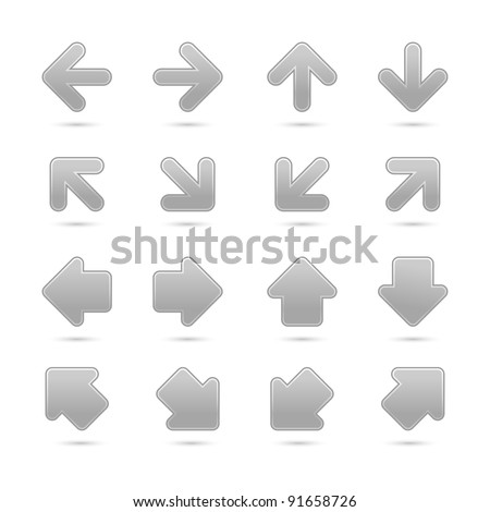 Gray arrow icon web button with gray shadow on white background. This vector illustration created and saved in 8 eps - stock vector