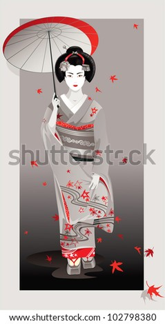 Gray Autumn. The vector illustration of a Japanese woman dressed in kimono embodying Autumn spirit.