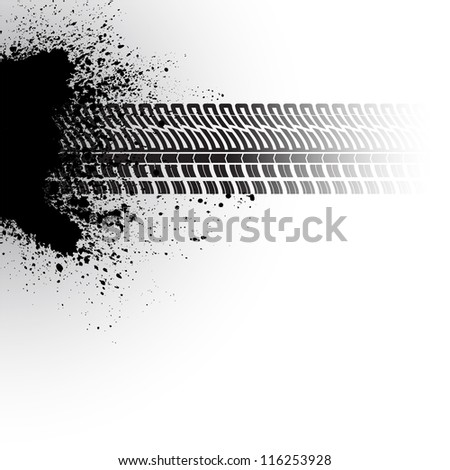 Gray background with black tire track and ink blots - stock vector