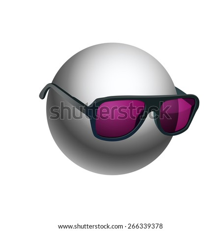Gray ball wearing sunglasses isolated on white background. EPS10 vector.