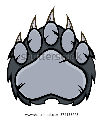 Gray Bear Paw With Claws. Vector Illustration Isolated On White - stock vector