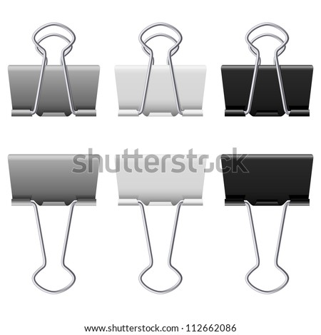 Gray binder clips. Illustration on white background