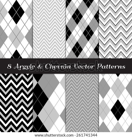 Gray, Black and White Argyle and Chevron Patterns. Modern Neutral Color Backgrounds. Vector EPS File Includes Pattern Swatches Made with Global Colors. - stock vector