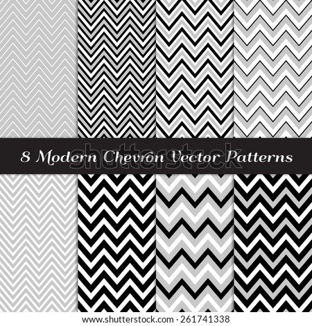 Gray, Black and White Chevron Patterns. Art Deco Backgrounds in Thick and Thin Chevron / Zigzag Stripe Patterns. Vector EPS File Includes Pattern Swatches Made with Global Colors. - stock vector