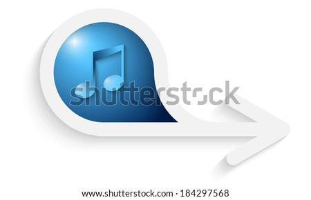 gray box for text with arrow and music icon - stock vector