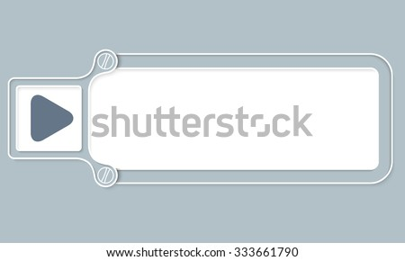 Gray box with white frame for your text and play symbol - stock vector