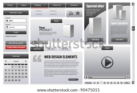 Gray Business Web Design Elements Version Grayscale 2: Menu, Navigation Bar, Slider, Banners, Video Player, Calendar, Tabs, Login Form, Scroller, Pagination - stock vector